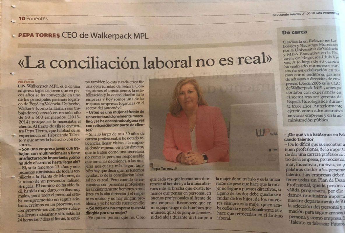 Pepa -Torres entrevistada en Las Provincias de Valencia